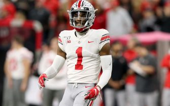 INDIANAPOLIS, INDIANA - DECEMBER 07: Jeff Okudah #01 of the Ohio State Buckeyes in action in the Big Ten Championship game against the Wisconsin Badgers at Lucas Oil Stadium on December 07, 2019 in Indianapolis, Indiana. (Photo by Justin Casterline/Getty Images)