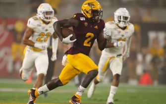 TEMPE, ARIZONA - AUGUST 29:  Wide receiver Brandon Aiyuk #2 of the Arizona State Sun Devils runs with the football en route to scoring on a 77 yard touchdown reception against the Kent State Golden Flashes during the second half of the NCAAF game at Sun Devil Stadium on August 29, 2019 in Tempe, Arizona. (Photo by Christian Petersen/Getty Images)