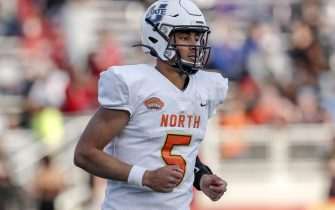 MOBILE, AL - JANUARY 25: Quarterback Jordan Love #5 from Utah State of the North Team during the 2020 Resse's Senior Bowl at Ladd-Peebles Stadium on January 25, 2020 in Mobile, Alabama. The North Team defeated the South Team 34 to 17. (Photo by Don Juan Moore/Getty Images)