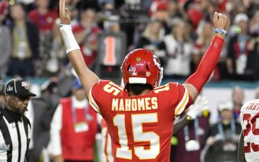 MIAMI, FLORIDA - FEBRUARY 02: Patrick Mahomes #15 of the Kansas City Chiefs celebrates after they scored a touchdown against the San Francisco 49ers in Super Bowl LIV at Hard Rock Stadium on February 02, 2020 in Miami, Florida. The Chiefs won the game 31-20. (Photo by Focus on Sport/Getty Images)