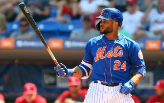 PORT ST. LUCIE, FL - MARCH 11: Robinson Cano #24 of the New York Mets in action against the St. Louis Cardinals during a spring training baseball game at Clover Park at on March 11, 2020 in Port St. Lucie, Florida. (Photo by Rich Schultz/Getty Images)