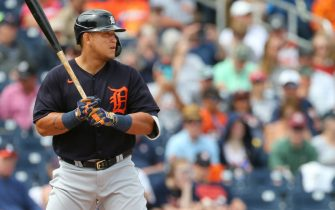 WEST PALM BEACH, FL - MARCH 09: Miguel Cabrera #24 of the Detroit Tigers in action against the Houston Astros during a spring training baseball game at FITTEAM Ballpark of the Palm Beaches on March 9, 2020 in West Palm Beach, Florida. The Astros defeated the Tigers 2-1. (Photo by Rich Schultz/Getty Images)