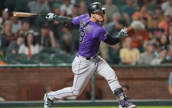 SAN FRANCISCO, CALIFORNIA - SEPTEMBER 25: Nolan Arenado #28 of the Colorado Rockies bats against the San Francisco Giants in the top of the third inning at Oracle Park on September 25, 2019 in San Francisco, California. (Photo by Thearon W. Henderson/Getty Images)