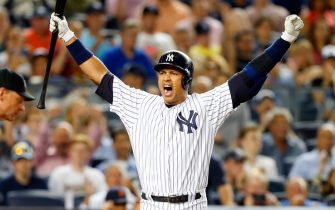NEW YORK, NY - JUNE 19:  (NEW YORK DAILIES OUT)   Alex Rodriguez #13 of the New York Yankees reacts after a play against the Detroit Tigers at Yankee Stadium on June 19, 2015 in the Bronx borough of New York City. The Yankees defeated the Tigers 7-2.  (Photo by Jim McIsaac/Getty Images)