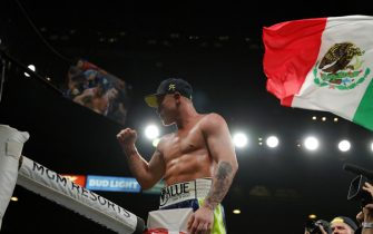 LAS VEGAS, NEVADA - NOVEMBER 02:  Canelo Alvarez celebrates his victory over Sergey Kovalev after their WBO light heavyweight title fight at MGM Grand Garden Arena on November 2, 2019 in Las Vegas, Nevada. Alvarez won with an 11th-round knockout.  (Photo by Steve Marcus/Getty Images)