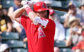 TEMPE, AZ - FEBRUARY 27:  Mike Trout of the Los Angeles Angels bats during the spring training game against the San Diego Padres on February 27, 2020 in Tempe, Arizona.  (Photo by Masterpress/Getty Images)