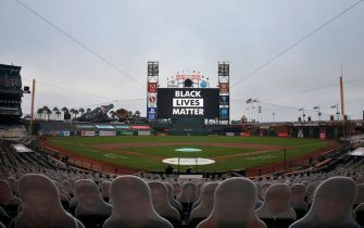SAN FRANCISCO, CALIFORNIA - AUGUST 26: Black Lives Matter is displayed on the screen after the postponement of the game between the San Francisco Giants and the Los Angeles Dodgers at Oracle Park on August 26, 2020 in San Francisco, California. Several sporting leagues across the nation today are postponing their schedules as players protest the shooting of Jacob Blake by Kenosha, Wisconsin police. (Photo by Lachlan Cunningham/Getty Images)