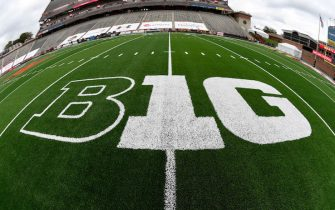 COLLEGE PARK, MD - OCTOBER 30:  The Big Ten logo on the field at Maryland Stadium before the game between the Maryland Terrapins and the Minnesota Golden Gophers on October 30, 2020 at  in College Park, Maryland. (Photo by G Fiume/Maryland Terrapins/Getty Images)