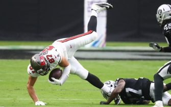 Oct 25, 2020; Paradise, Nevada, USA; Tampa Bay Buccaneers tight end Rob Gronkowski (87) is upended while being tackled against the Las Vegas Raiders at Allegiant Stadium. Mandatory Credit: Mark J. Rebilas-USA TODAY Sports/Sipa USA