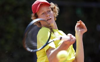Jannik Sinner of Italy in action against Stefanos Tsitsipas of Greece during their mens singles second round match at the Italian Open tennis tournament in Rome, Italy, 16 May 2019. ANSA/RICCARDO ANTIMIANI