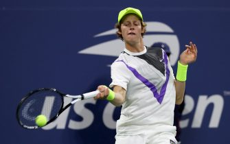 NEW YORK, NEW YORK - AUGUST 26:  Jannik Sinner of Italy returns a shot during his Men's Singles first round match against Stan Wawrinka of Switzerland during day one of the 2019 US Open at the USTA Billie Jean King National Tennis Center on August 26, 2019 in the Flushing neighborhood of the Queens borough of New York City.  (Photo by Mike Stobe/Getty Images for USTA)