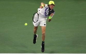NEW YORK, NEW YORK - AUGUST 26:  Jannik Sinner of Italy serves the ball during his Men's Singles first round match against Stan Wawrinka of Switzerland during day one of the 2019 US Open at the USTA Billie Jean King National Tennis Center on August 26, 2019 in the Flushing neighborhood of the Queens borough of New York City.  (Photo by Mike Stobe/Getty Images for USTA)