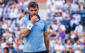 NEW YORK, NEW YORK - SEPTEMBER 03: Stan Wawrinka of Switzerland in between points during his Men's quarterfinals match against Danill Medvedev of Russia on day nine of the US Open at the USTA Billie Jean King National Tennis Center on September 03, 2019 in Queens borough of New York City. (Photo by Chaz Niell/Getty Images)