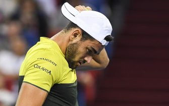 SHANGHAI, CHINA - OCTOBER 12:  Matteo Berrettini of Italy reacts against  Alexander Zverev of Germany in the Men's Singles Semifinal of 2019 Rolex Shanghai Masters at Qi Zhong Tennis Centre on October 12, 2019 in Shanghai, China.  (Photo by Zhe Ji/Getty Images)