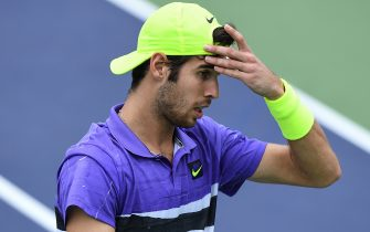 SHANGHAI, CHINA - OCTOBER 09:  Karen Khachanov of Russia react against Taylor Fritz of the Unites States on day five of 2019 Rolex Shanghai Masters at Qi Zhong Tennis Centre at Qi Zhong Tennis Centre on October 9, 2019 in Shanghai, China.  (Photo by Zhe Ji/Getty Images)