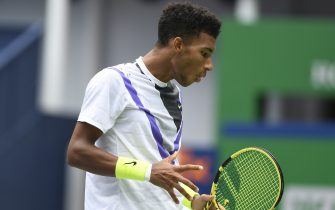SHANGHAI, CHINA - OCTOBER 09: Felix Auger-Aliassime of Canada in action against Stefanos Tsitsipas of Greece on day five of 2019 Rolex Shanghai Masters at Qi Zhong Tennis Centre at Qi Zhong Tennis Centre on October 9, 2019 in Shanghai, China. ((Photo by Fred Lee/Getty Images)