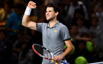 PARIS, FRANCE - OCTOBER 30:  Dominic Thiem of Austria celebrates his victory against Milos Raonic of Canada on day 3 of the Rolex Paris Masters, part of the ATP World Tour Masters 1000 held at the at AccorHotels Arena on October 30, 2019 in Paris, France. (Photo by Dean Mouhtaropoulos/Getty Images)