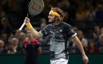 PARIS, FRANCE - OCTOBER 30:  Stefanos Tsitsipas of Greece celebrates after defeating in his mens singles second round match against Taylor Fritz of United States during Day three of the Rolex Paris Masters at AccorHotels Arena on October 30, 2019 in Paris, France. (Photo by Quality Sport Images/Getty Images)
