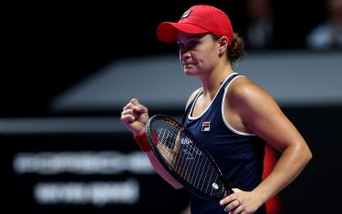 SHENZHEN, CHINA - NOVEMBER 03: Ashleigh Barty of Australia celebrates winning the first set against Elina Svitolina of Ukraine during their Women's Singles final match on Day Eight of the 2019 Shiseido WTA Finals at Shenzhen Bay Sports Center on November 03, 2019 in Shenzhen, China. (Photo by Clive Brunskill/Getty Images)