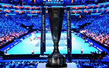 A photograph shows the ATP World Tour Finals trophy on day six of the ATP World Tour Finals tennis tournament at the O2 Arena in London on November 16, 2018. (Photo by Glyn KIRK / AFP)        (Photo credit should read GLYN KIRK/AFP via Getty Images)