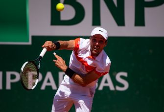 PARIS, FRANCE - JUNE 01: Roberto Bautista Agut of Spain serves against Fabio Fognini of Italy in the third round of the men's singles during Day 7 of the 2019 French Open at Roland Garros on June 01, 2019 in Paris, France. (Photo by TPN/Getty Images)
