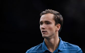 Russia's Daniil Medvedev reacts during his tennis match against France's Jeremy Chardy during their men's singles tennis match on day two of the ATP World Tour Masters 1000 - Rolex Paris Masters - indoor tennis tournament at The AccorHotels Arena in Paris on October 29, 2019. (Photo by Christophe ARCHAMBAULT / AFP) (Photo by CHRISTOPHE ARCHAMBAULT/AFP via Getty Images)