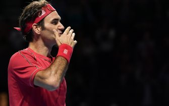 Swiss Roger Federer celebrates his victory during the final match at the Swiss Indoors tennis tournament in Basel on October 27, 2019. (Photo by FABRICE COFFRINI / AFP) (Photo by FABRICE COFFRINI/AFP via Getty Images)