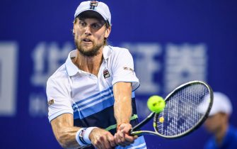 Andreas Seppi of Italy hits a return against Roberto Bautista Agut of Spain during their men's singles quarter-final match at the Zhuhai Championships tennis tournament in Zhuhai in China's southern Guangdong province on September 27, 2019. (Photo by STR / AFP) / China OUT        (Photo credit should read STR/AFP via Getty Images)