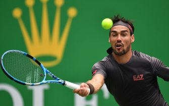 Fabio Fognini of Italy hits a return against Daniil Medvedev of Russia during their men's singles quarter-final match at the Shanghai Masters tennis tournament in Shanghai on October 11, 2019. (Photo by HECTOR RETAMAL / AFP) (Photo by HECTOR RETAMAL/AFP via Getty Images)