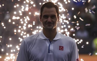 BUENOS AIRES, ARGENTINA - NOVEMBER 20:  Roger Federer of Switzerland smiles after an exhibition game between Alexander Zverev and Roger Federer at Arena Parque Roca on November 20, 2019 in Buenos Aires, Argentina. (Photo by Marcelo Endelli/Getty Images)