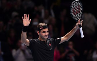 LONDON, ENGLAND - NOVEMBER 12: Roger Federer of Switzerland celebrates victory after his singles match against Matteo Berrettini of Italy during Day Three of the Nitto ATP World Tour Finals at The O2 Arena on November 12, 2019 in London, England. (Photo by Justin Setterfield/Getty Images)