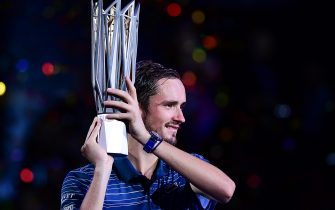 SHANGHAI, CHINA - OCTOBER 13:  Daniil Medvedev of Russia with the trophy during the Award Ceremony after winning the Men's Singles final match against Alexander Zverev of Germany on day nine of 2019 Shanghai Rolex Masters at Qi Zhong Tennis Centre on October 13, 2019 in Shanghai, China.  (Photo by Zhe Ji/Getty Images)
