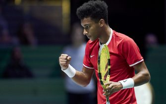 MADRID, SPAIN - NOVEMBER 24: Felix Auger-Aliassime of Canada celebrates during the final singles match against Roberto Bautista of Spain during Day Seven of the 2019 Davis Cup at La Caja Magica on November 24, 2019 in Madrid, Spain. (Photo by fotopress/Getty Images)