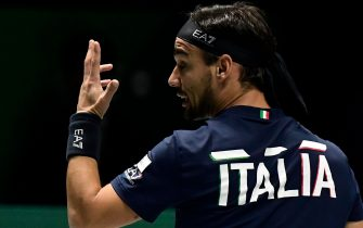 Italy's Fabio Fognini celebrates winning a point against US Reilly Opelka during their singles tennis match at the Davis Cup Madrid Finals 2019 in Madrid on November 20, 2019. (Photo by JAVIER SORIANO / AFP) (Photo by JAVIER SORIANO/AFP via Getty Images)
