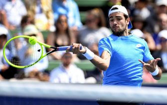 Matteo Berrettini of Italy hits a return during his men's singles match against Stefanos Tsitsipas of Greece at the Kooyong Classic tennis tournament in Melbourne on January 16, 2020. (Photo by William WEST / AFP) / IMAGE RESTRICTED TO EDITORIAL USE - STRICTLY NO COMMERCIAL USE (Photo by WILLIAM WEST/AFP via Getty Images)