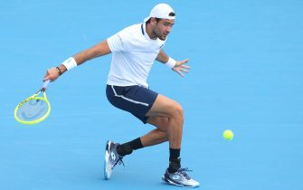 MELBOURNE, AUSTRALIA - JANUARY 15: Matteo Berrettini of Italy plays a backhand in his Men s Singles match against Marc Polmans of Australia during day two of the 2020 Kooyong Classic at Kooyong on January 15, 2020 in Melbourne, Australia. (Photo by Mike Owen/Getty Images)