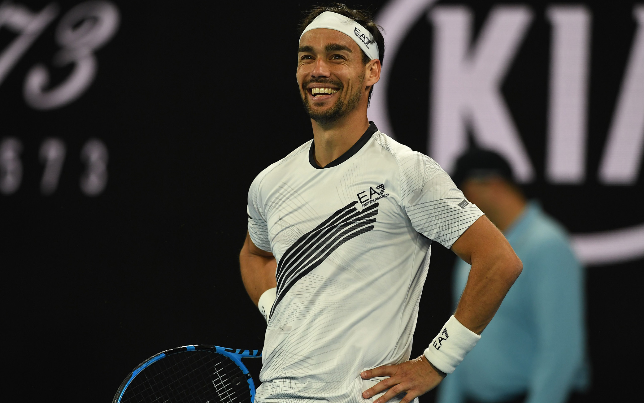 Italy's Fabio Fognini reacts after a point against Argentina's Guido Pella during their men's singles match on day five of the Australian Open tennis tournament in Melbourne on January 24, 2020. (Photo by Greg Wood / AFP) / IMAGE RESTRICTED TO EDITORIAL USE - STRICTLY NO COMMERCIAL USE (Photo by GREG WOOD/AFP via Getty Images)