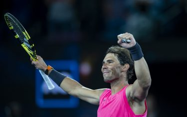 MELBOURNE, AUSTRALIA - JANUARY 23: Rafael Nadal of Spain celebrates after winning his second round match against Fredrico Delbonis of Argentina on day four of the 2020 Australian Open at Melbourne Park on January 23, 2020 in Melbourne, Australia. (Photo by TPN/Getty Images)