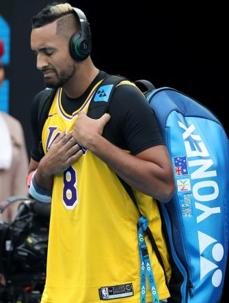 MELBOURNE, AUSTRALIA - JANUARY 27: Nick Kyrgios of Australia tears up as he walks onto Rod Laver Arena wearing a number 8 Kobe Bryant Jersey ahead of his Men's Singles fourth round match against Rafael Nadal of Spain on day eight of the 2020 Australian Open at Melbourne Park on January 27, 2020 in Melbourne, Australia. (Photo by Mark Kolbe/Getty Images)