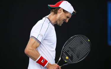 MELBOURNE, AUSTRALIA - JANUARY 23: Andreas Seppi of Italy reacts during his Men's Singles second round match against Stan Wawrinka of Switzerland on day four of the 2020 Australian Open at Melbourne Park on January 23, 2020 in Melbourne, Australia. (Photo by Mark Kolbe/Getty Images)