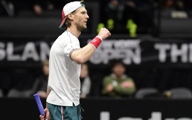 UNIONDALE, NEW YORK - FEBRUARY 15:  Andreas Seppi of Italy celebrates victory in his Men's Singles semifinal match against Jason Jung of Taiwan on day six of the 2020 NY Open at Nassau Veterans Memorial Coliseum on February 15, 2020 in Uniondale, New York. (Photo by Steven Ryan/Getty Images)