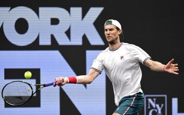 UNIONDALE, NEW YORK - FEBRUARY 15:  Andreas Seppi of Italy hits a forehand during his Men's Singles semifinal match against Jason Jung of Taiwan on day six of the 2020 NY Open at Nassau Veterans Memorial Coliseum on February 15, 2020 in Uniondale, New York. (Photo by Steven Ryan/Getty Images)
