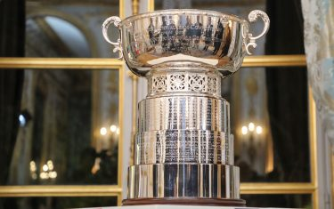 This picture shows the Fed Cup's trophy displayed during a reception at the Elysee presidential palace in Paris on November 12, 2019. (Photo by ludovic MARIN / POOL / AFP) (Photo by LUDOVIC MARIN/POOL/AFP via Getty Images)
