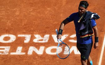 Italy's Fabio Fognini reacts during his tennis match against Russia's Andrey Rublev on the day 3 of the Monte-Carlo ATP Masters Series tournament on April 15, 2019 in Monaco. (Photo by Valery HACHE / AFP)        (Photo credit should read VALERY HACHE/AFP via Getty Images)