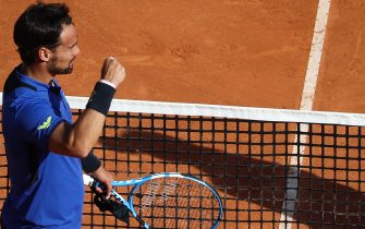 Italy's Fabio Fognini celebrates after winning his match against Russia's Andrey Rublev on the day 3 of the Monte-Carlo ATP Masters Series tournament on April 15, 2019 in Monaco. (Photo by Valery HACHE / AFP)        (Photo credit should read VALERY HACHE/AFP via Getty Images)
