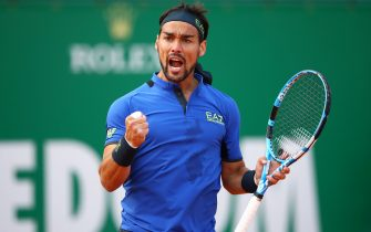 MONTE-CARLO, MONACO - APRIL 18:   Fabio Fognini of Italy celebrates match point against Alexander Zverev of Germany in their third round match during day five of the Rolex Monte-Carlo Masters at Monte-Carlo Country Club on April 18, 2019 in Monte-Carlo, Monaco. (Photo by Clive Brunskill/Getty Images)