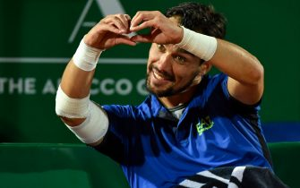 Italy's Fabio Fognini celebrates after wiining victory against Croatia's Borna Coric during their quarter final tennis match on the day 7 of the Monte-Carlo ATP Masters Series tournament on April 19, 2019 in Monaco.  Yann COATSALIOU / AFP (Photo by YANN COATSALIOU / AFP)        (Photo credit should read YANN COATSALIOU/AFP via Getty Images)