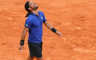 Italy's Fabio Fognini celebrates after defeating Spain's Rafael Nadal during the semi final tennis match of the Monte-Carlo ATP Masters Series tournament in Monaco on April 20, 2019. (Photo by VALERY HACHE / AFP)        (Photo credit should read VALERY HACHE/AFP via Getty Images)