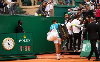 MONTE-CARLO, MONACO - APRIL 20: Rafael Nadal of Spain leaves the court after his straight sets defeat by Fabio Fognini of Italy in their semifinal match during day seven of the Rolex Monte-Carlo Masters at Monte-Carlo Country Club on April 20, 2019 in Monte-Carlo, Monaco. (Photo by Clive Brunskill/Getty Images)