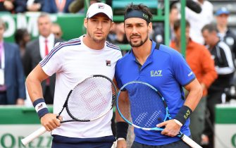 Italy's Fabio Fognini (R) and Serbia's Dusan Lajovic pose prior to their final tennis match of the Monte-Carlo ATP Masters Series tournament in Monaco on April 21, 2019. (Photo by Yann COATSALIOU / AFP)        (Photo credit should read YANN COATSALIOU/AFP via Getty Images)